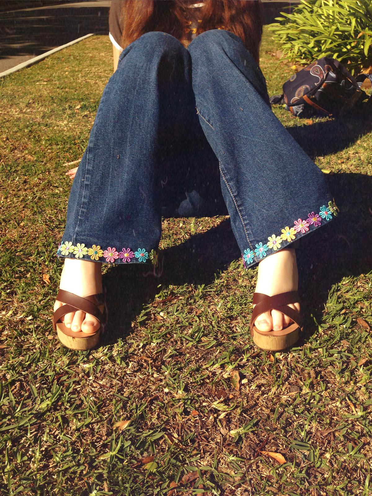 Upcycled Wide Leg Daisy Jeans