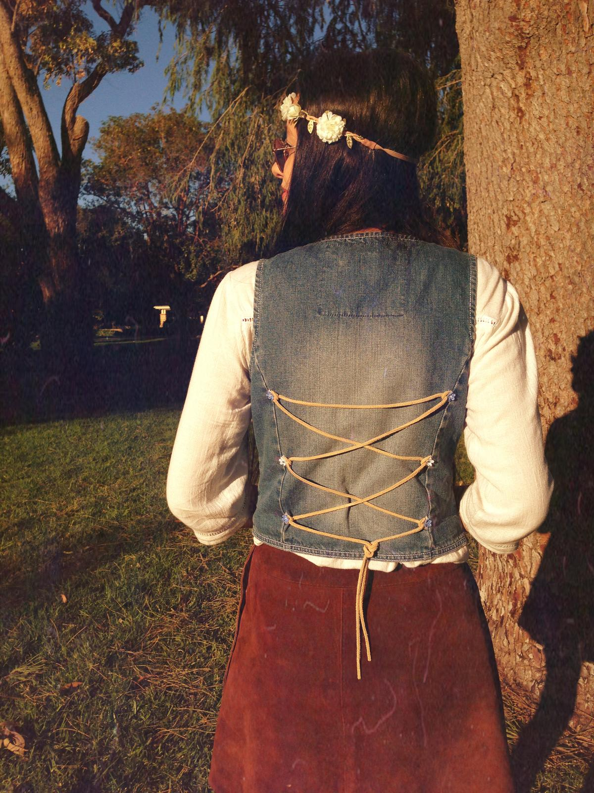 Upcycled Hippie Leather Corset Vest