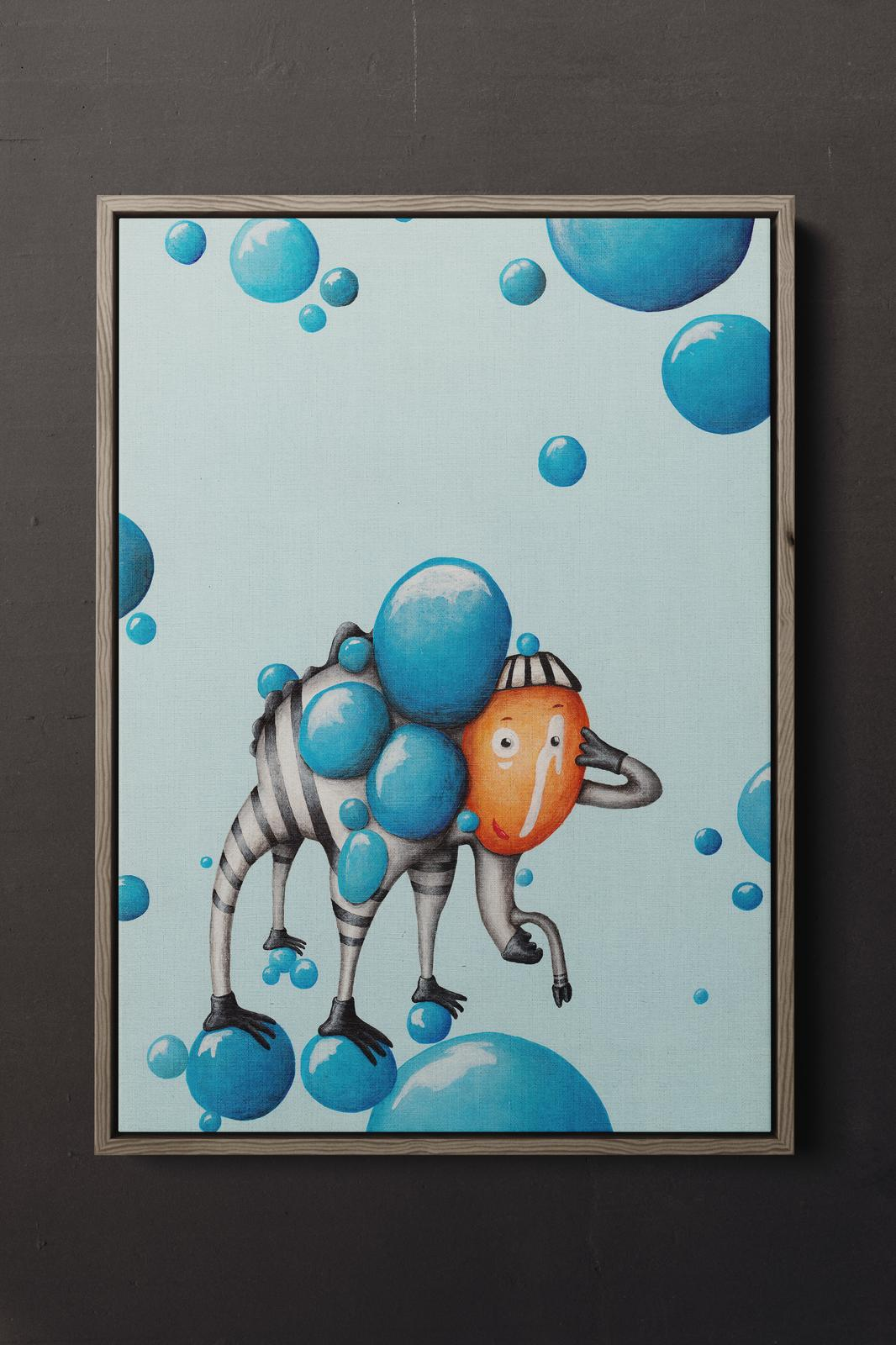 Small canvas print - 'Siegfried - the bubble man' by Jem Ham
