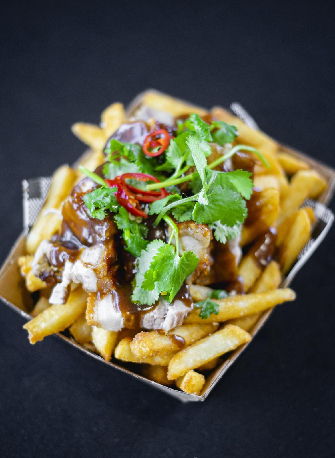 Roast pork loaded fries