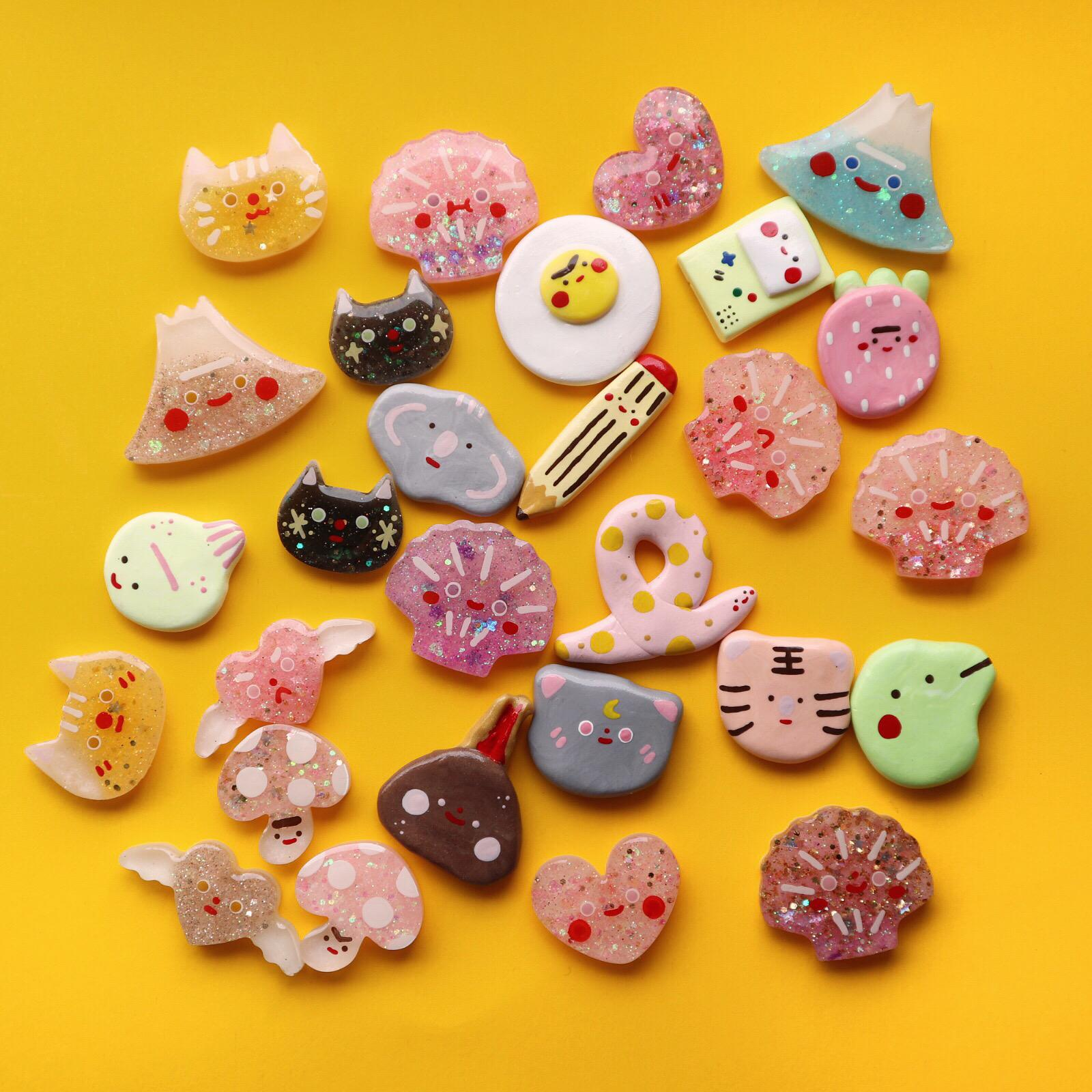 Handmade Clay and Resin Pins