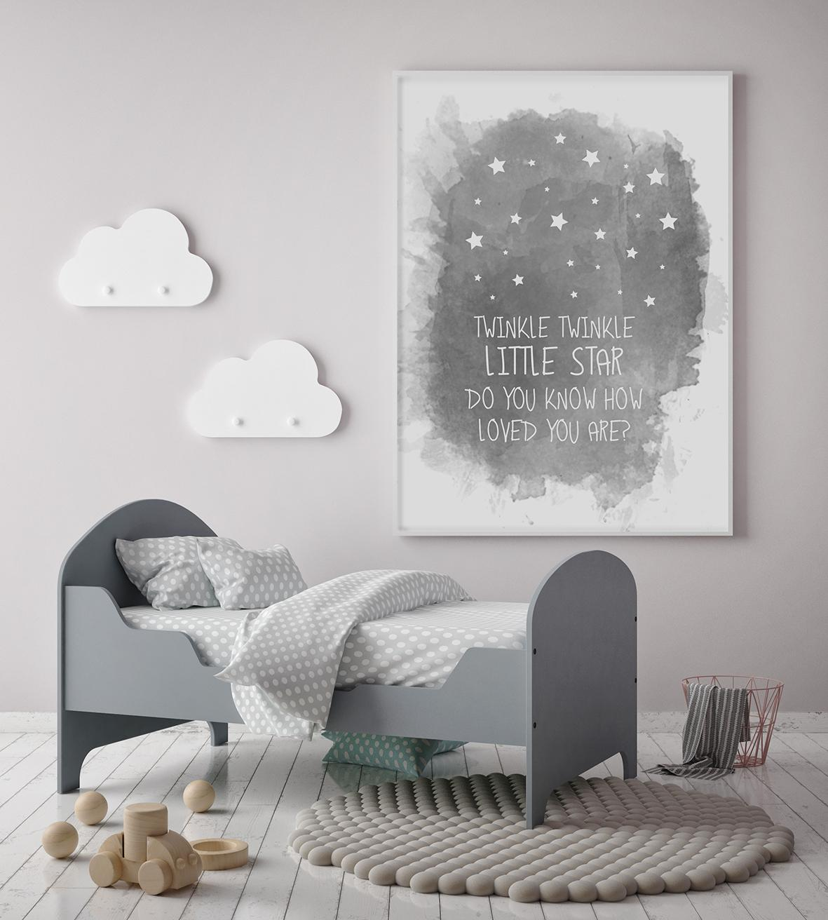 Twinkle Twinkle print in grey, printed large scale and hung in nursery