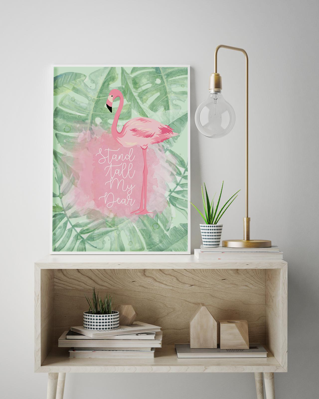 Flamingo print in hallway display