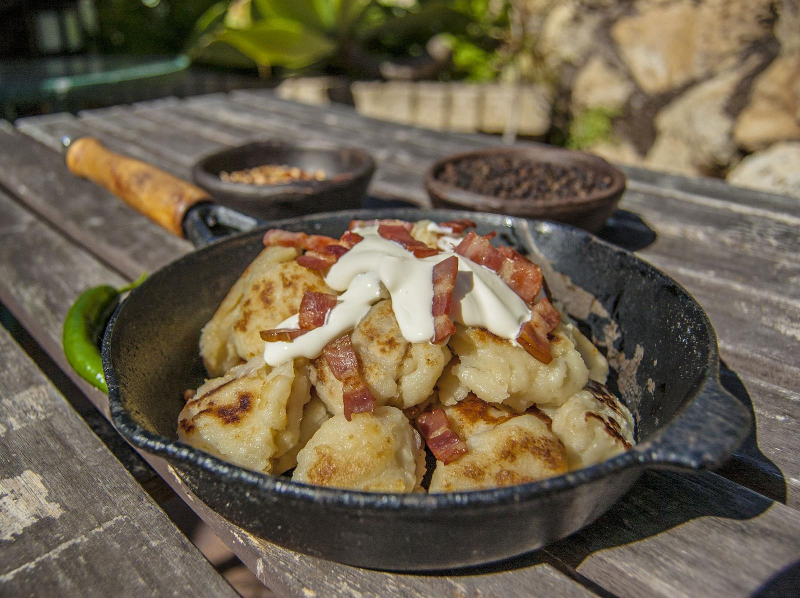 Dodolle - Pan fried Hungarian Potato Dumplings with savoury toppings