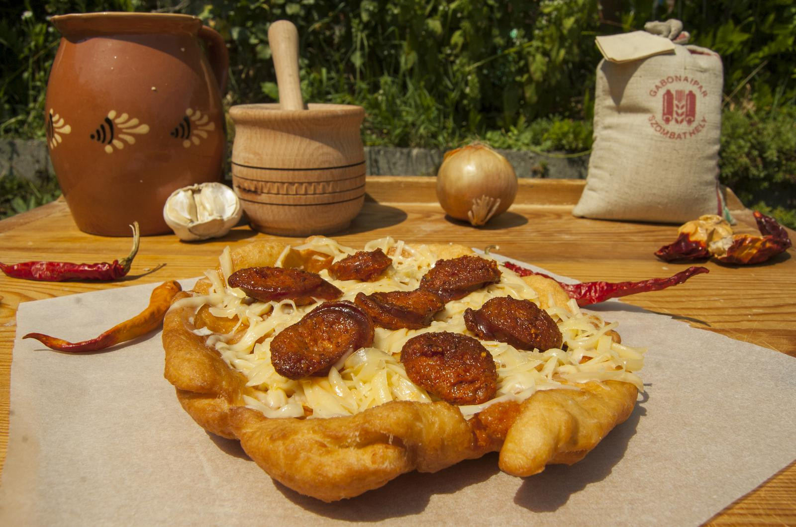 Fried Hungarian Flatbread with Sausages