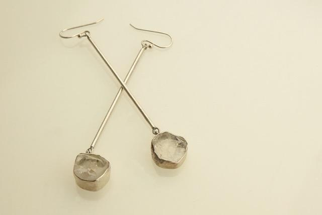 Quartz crystal 'ice cube' drop earrings