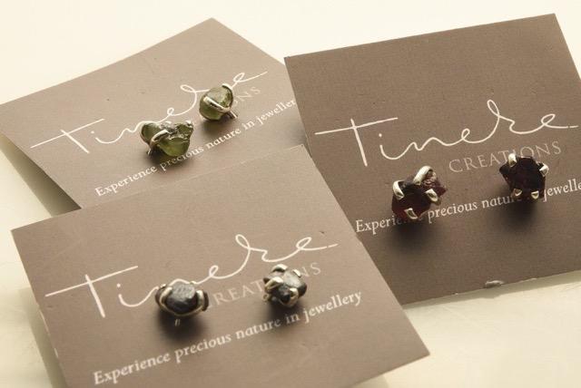 Earrings with rough gemstones in silver