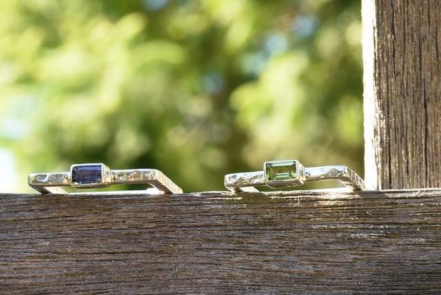 Square rings with gemstones