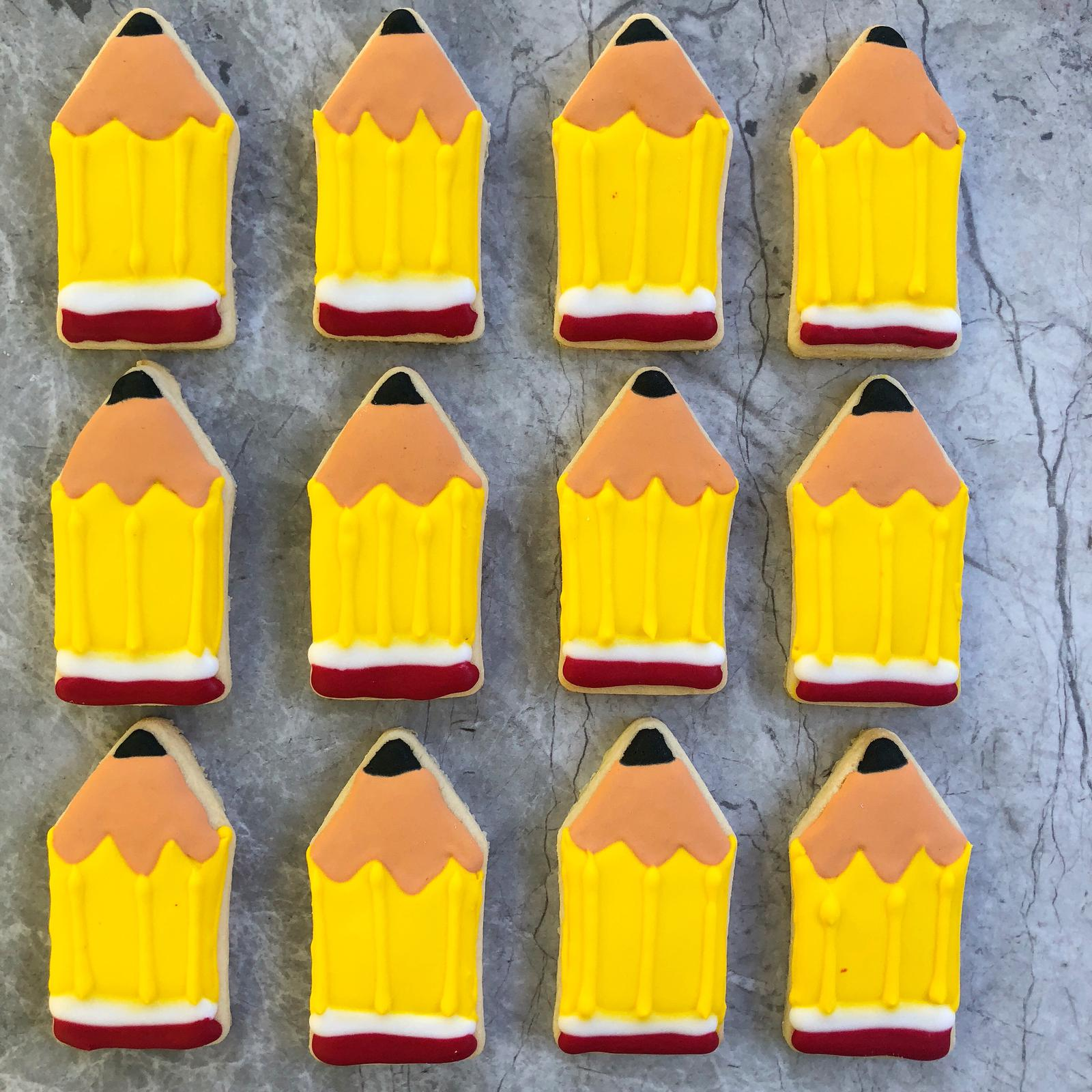 Royal icing pencil cookies