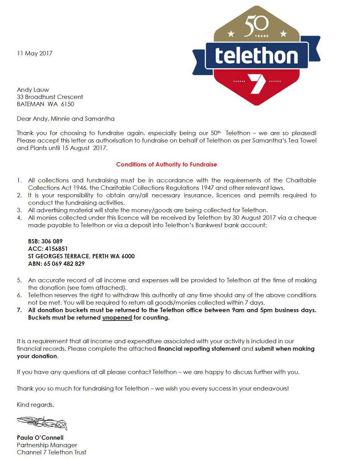 Telethon Authorisation Letter