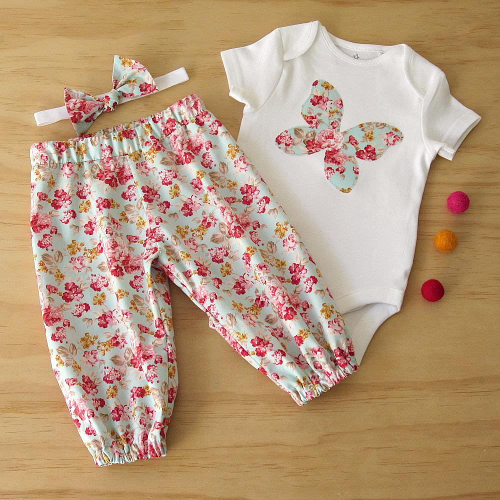 Girls Butterfly appliqued bodysuit and matching harem pants.
