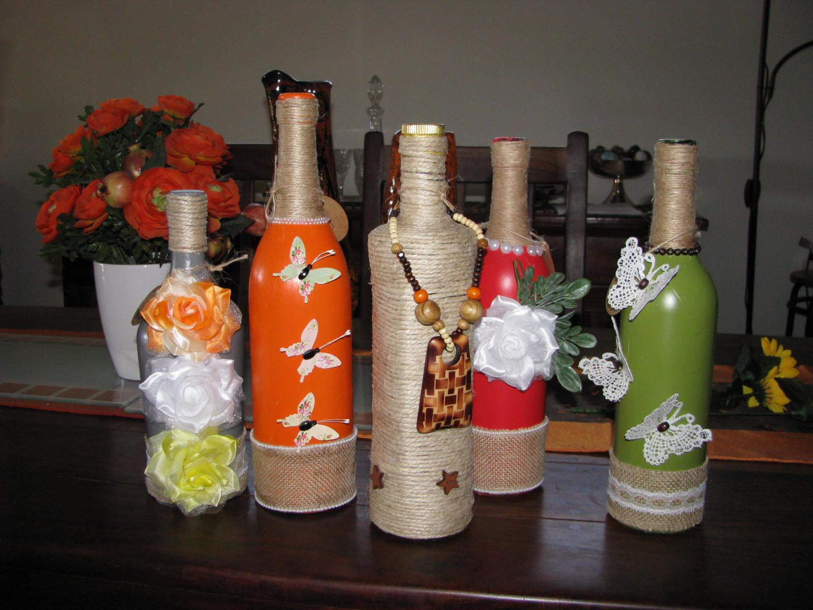 Decorated bottles using Twine, a few from a wide selection