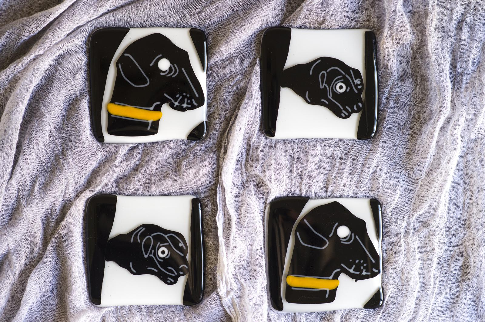 "Unique Glass Art by Marion: For Canine lovers' Dog Coasters ""Ralph!"""