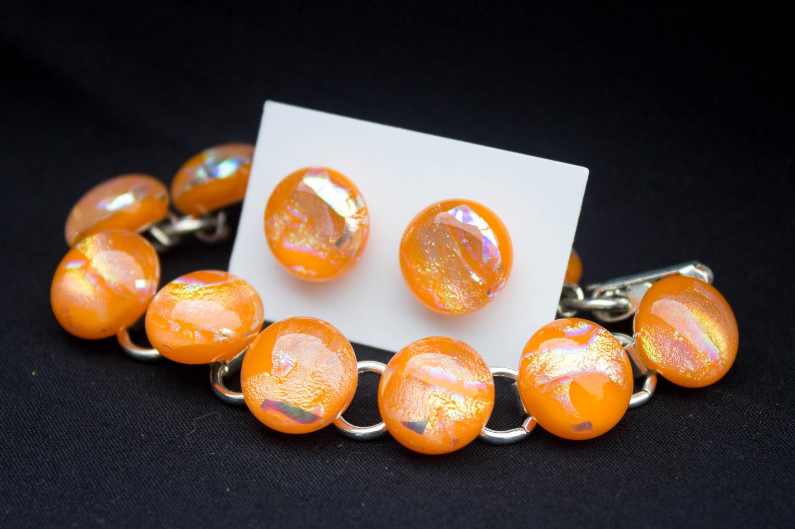 """Unique Glass Art by Marion :Bracelet + stud earrings set """" Extravaganza!"""""""