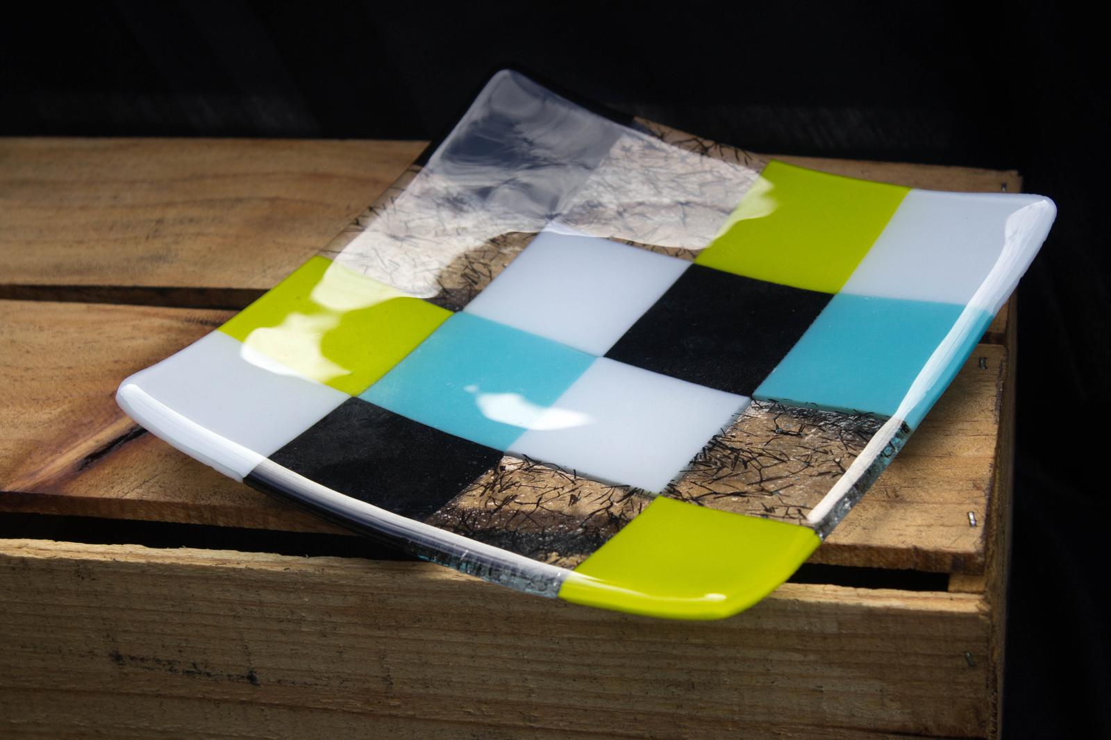 "Unique Glass Art by Marion:""Patchwork"" colouful Sushi plate retro design."