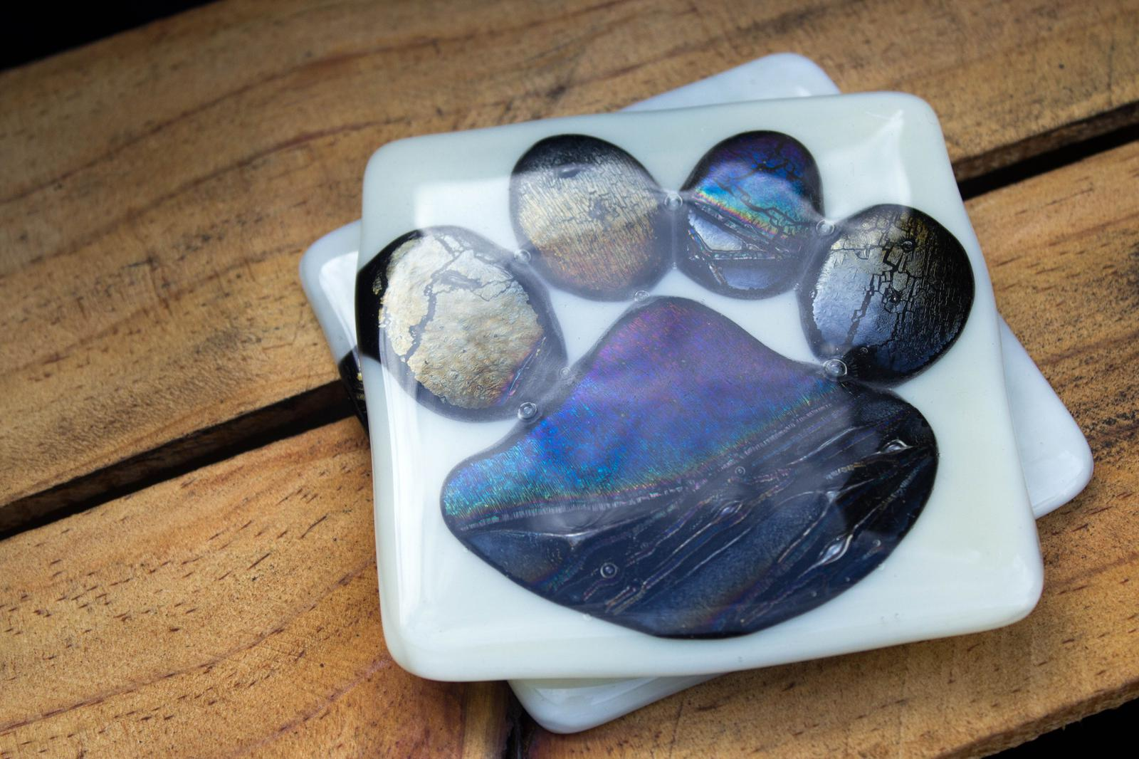 "Unique Glass Art by Marion:..""Dog Paw"" Glass Coasters..Love your furbaby !"
