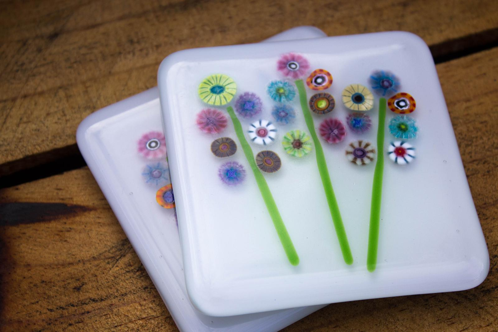 "Unique Glass Art by Marion: Coasters' ""Bouquets of Murrini Blooms "".."