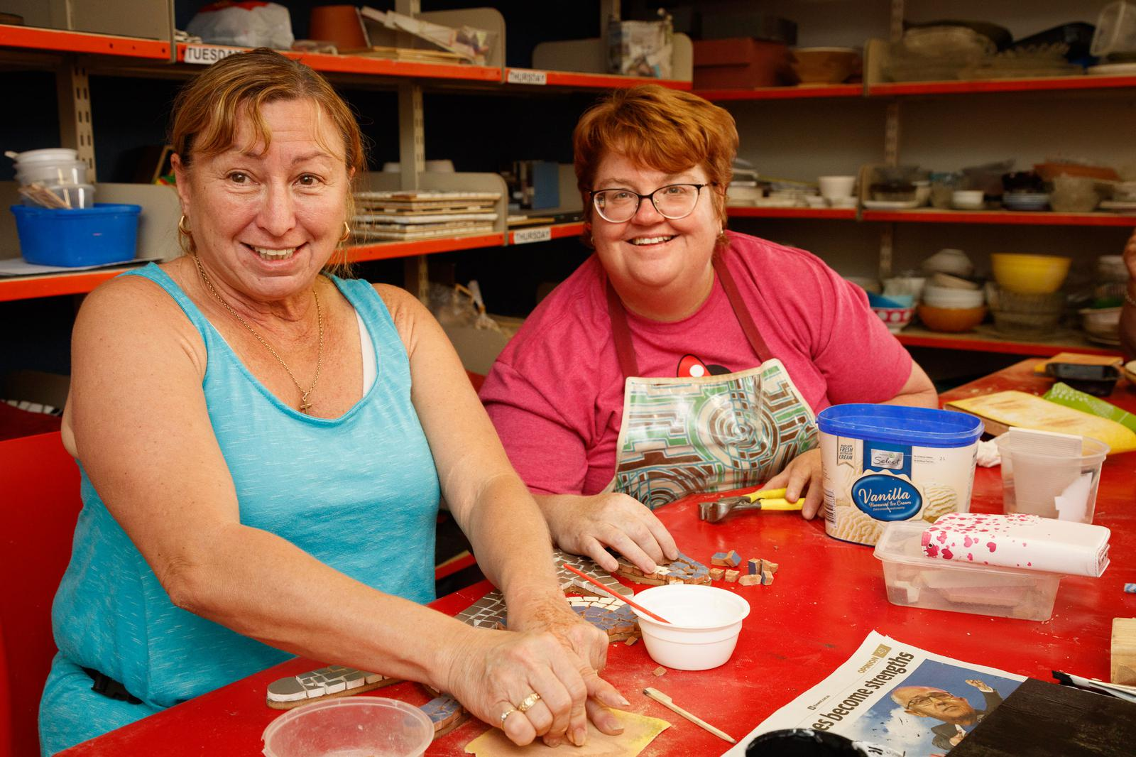 VisAbility CAC clients work on mosaics
