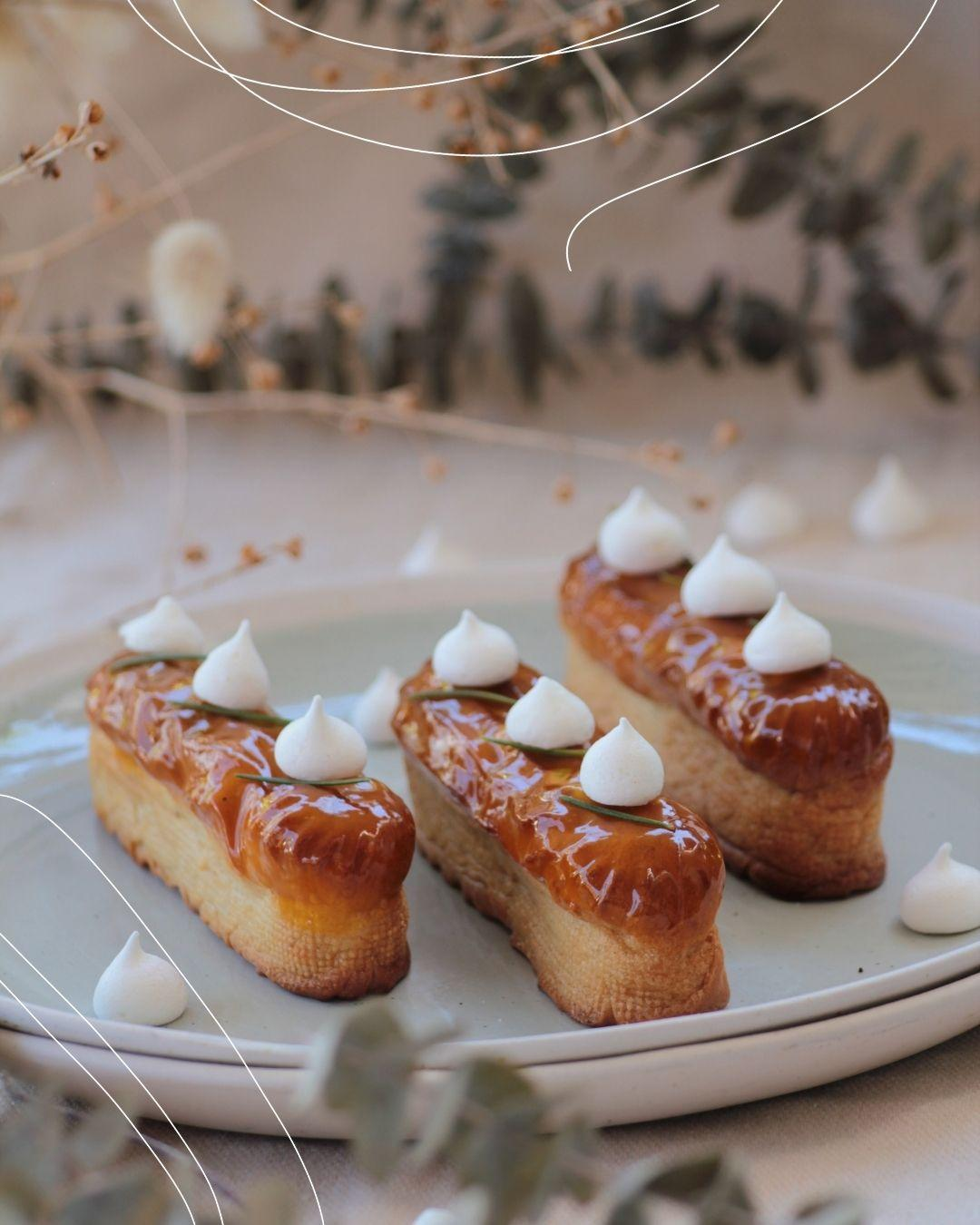 Eclair topped with meringue