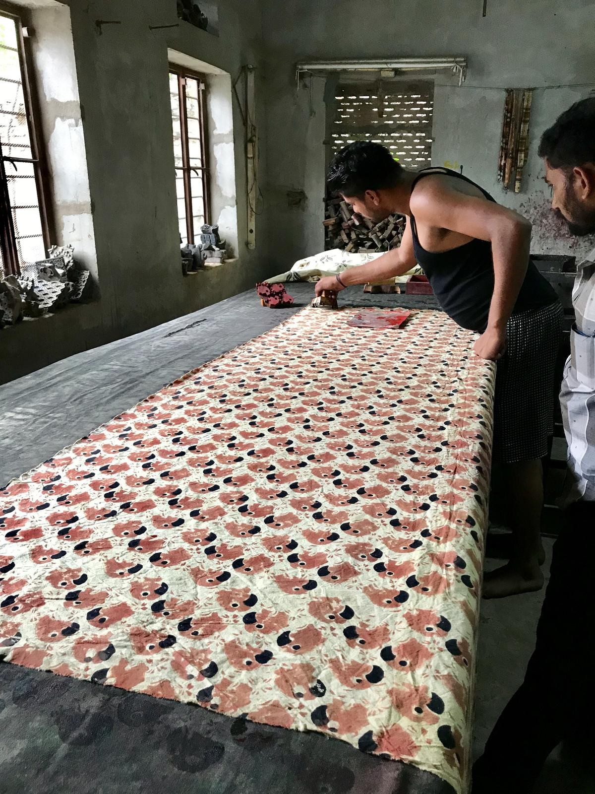 Parrot design being hand printed in Rajasthan, India