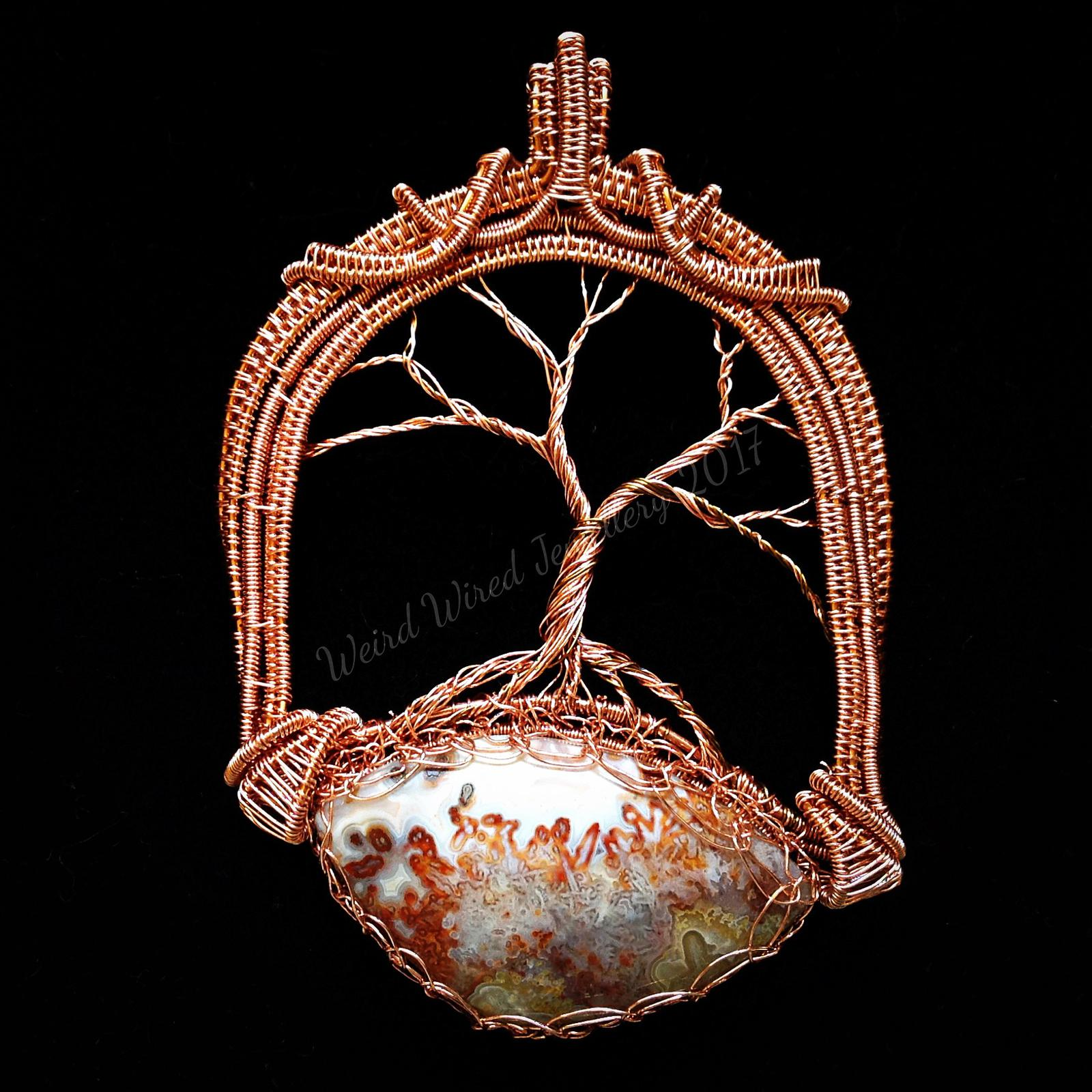 Tree of Life - Crazy Lace Agate cabochon in pure copper wire