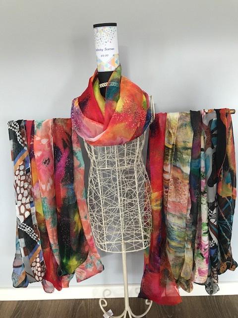 Silk infinity scarves