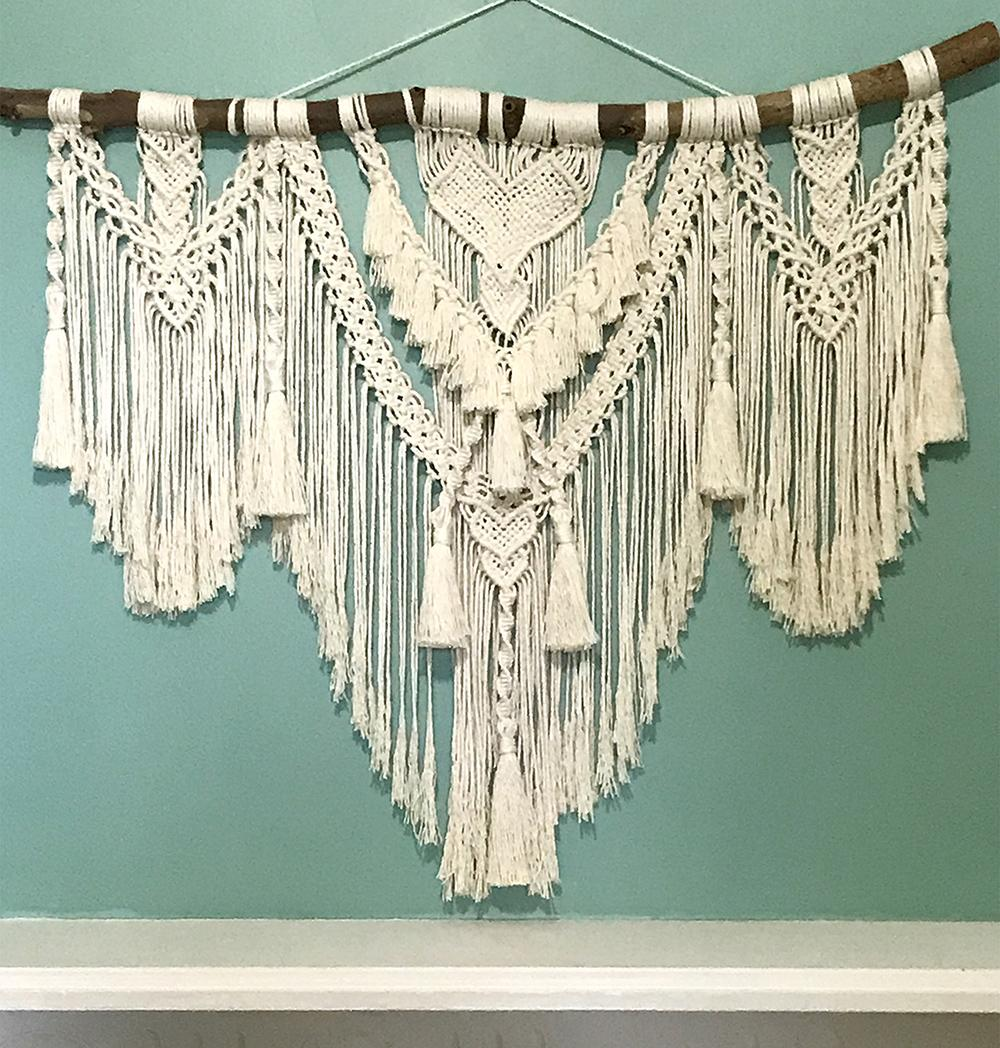 Macrame wall hanging with hearts