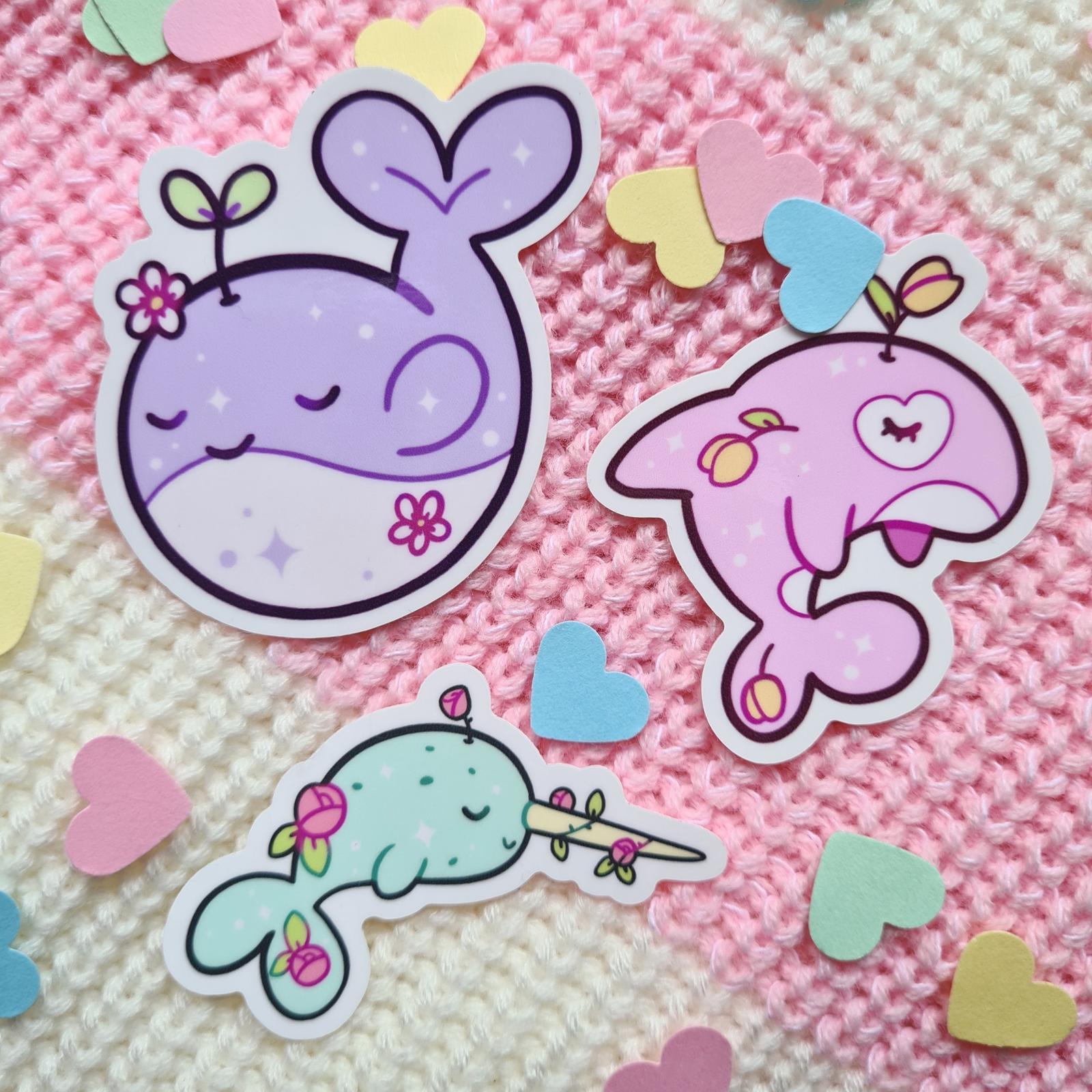 Floral whale vinyl sticker set