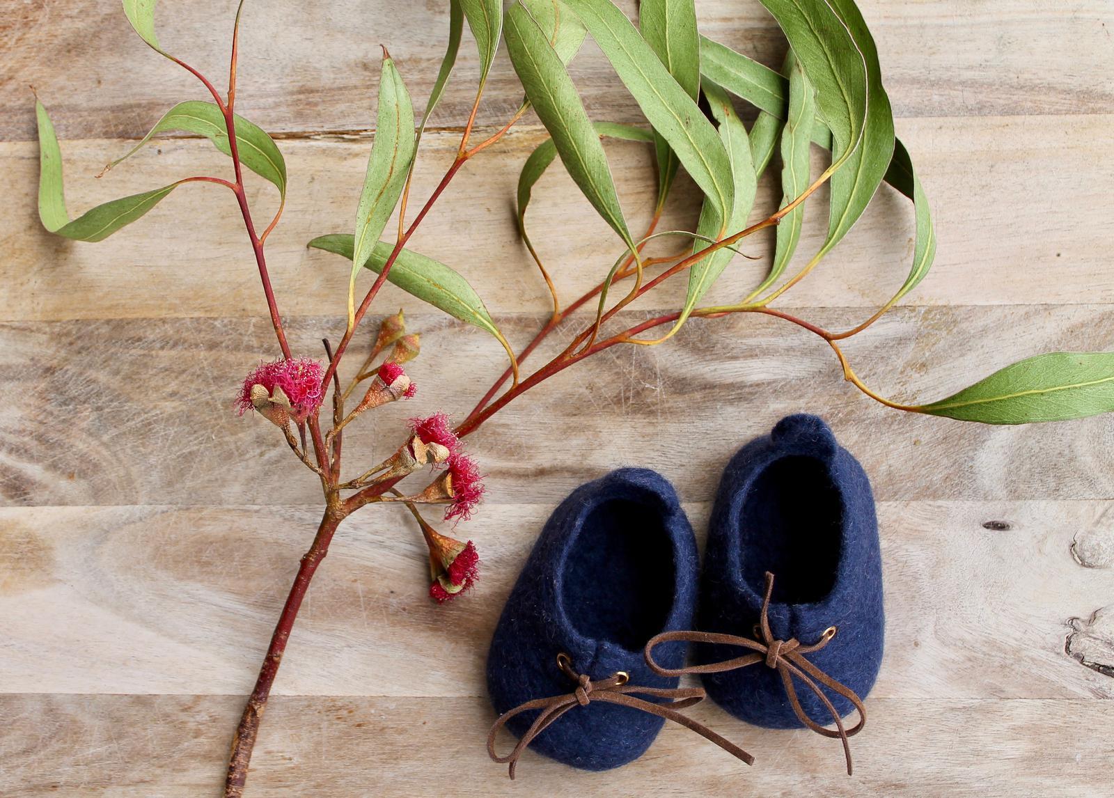 Sydney Sneaker - Navy - Woollen felt baby shoe - Australian made