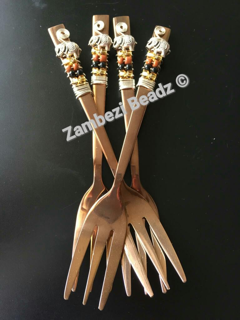 African-inspired cake forks fabulous for a high tea table!