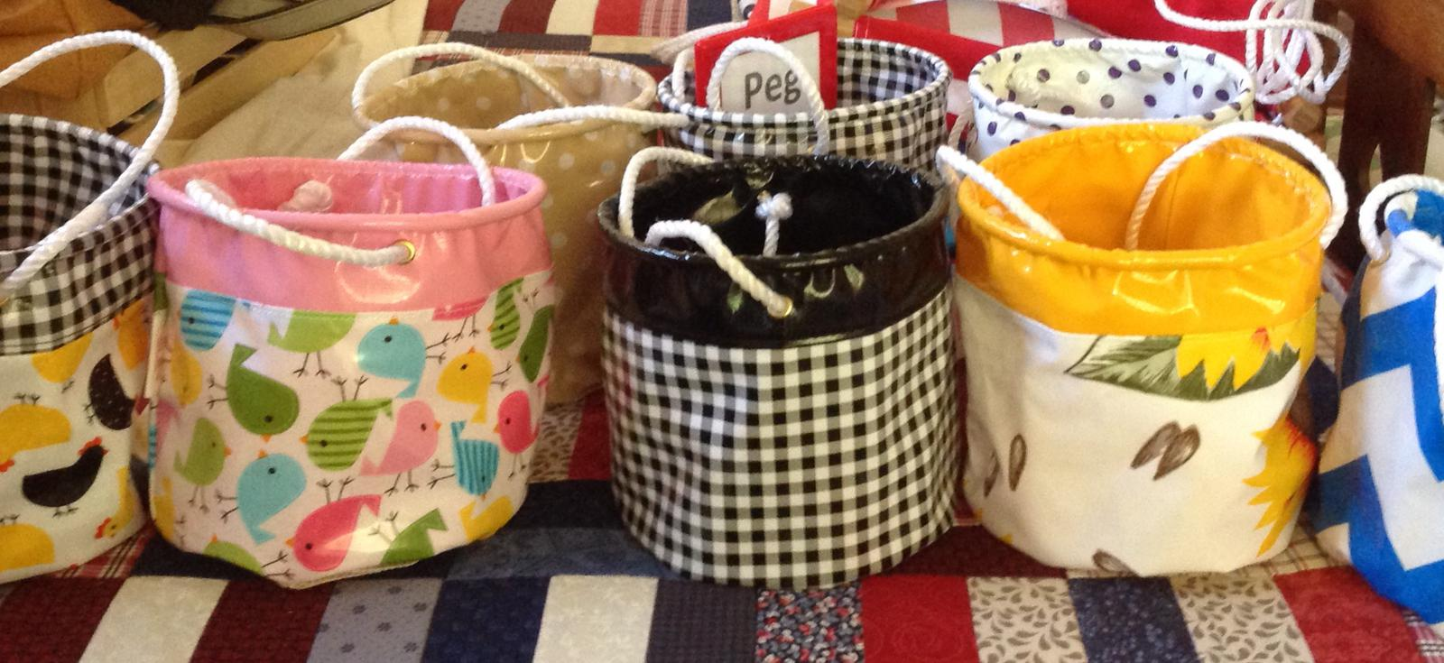 Peg Bags, complete with a shade clothe base to allow the rain to run through!