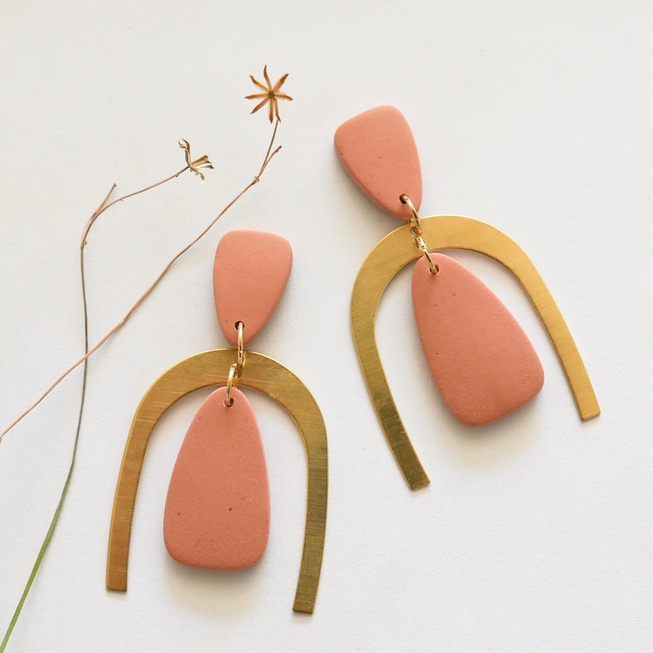 Polymer clay and brass statement dangles