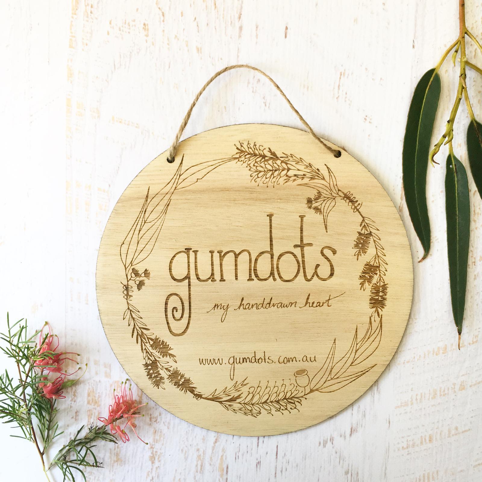 logo- gumdots stall sign