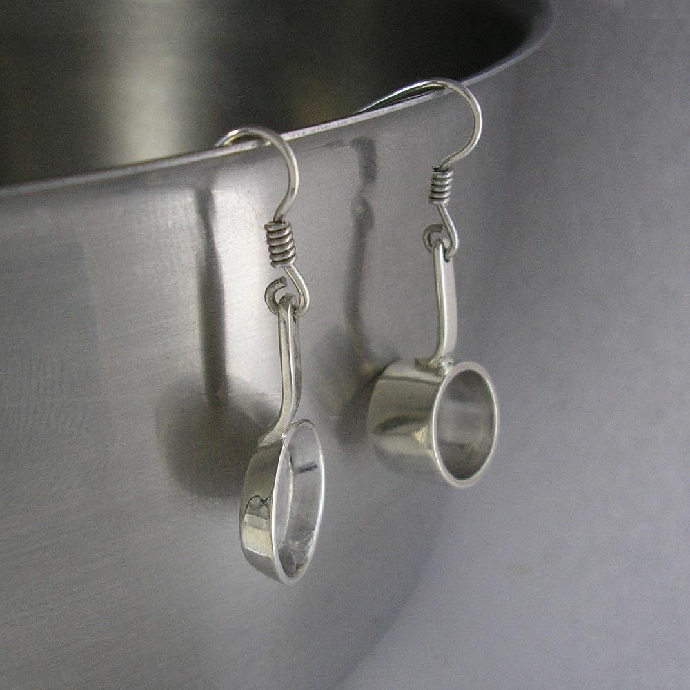 Silver Saucepan and Frypan Earrings