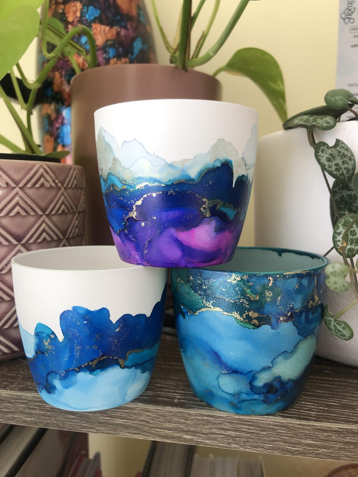 mini pots in glacier, blue and teal