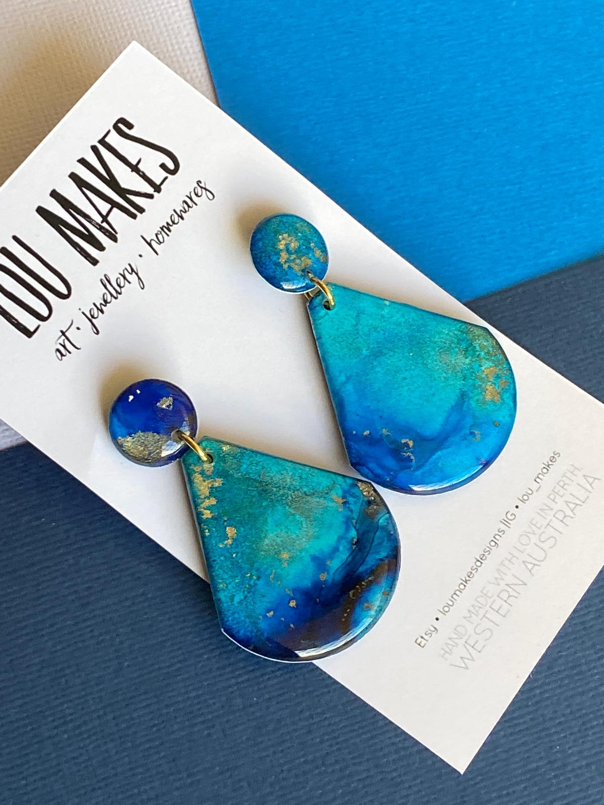 dangle earrings in coastal blues