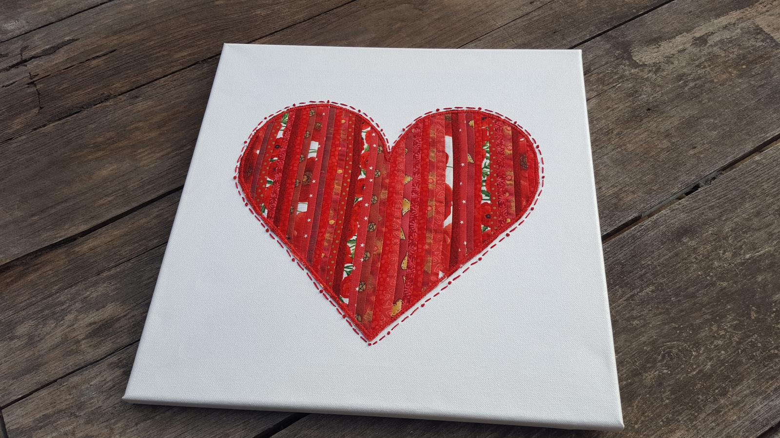 Fabric Heart on Canvas