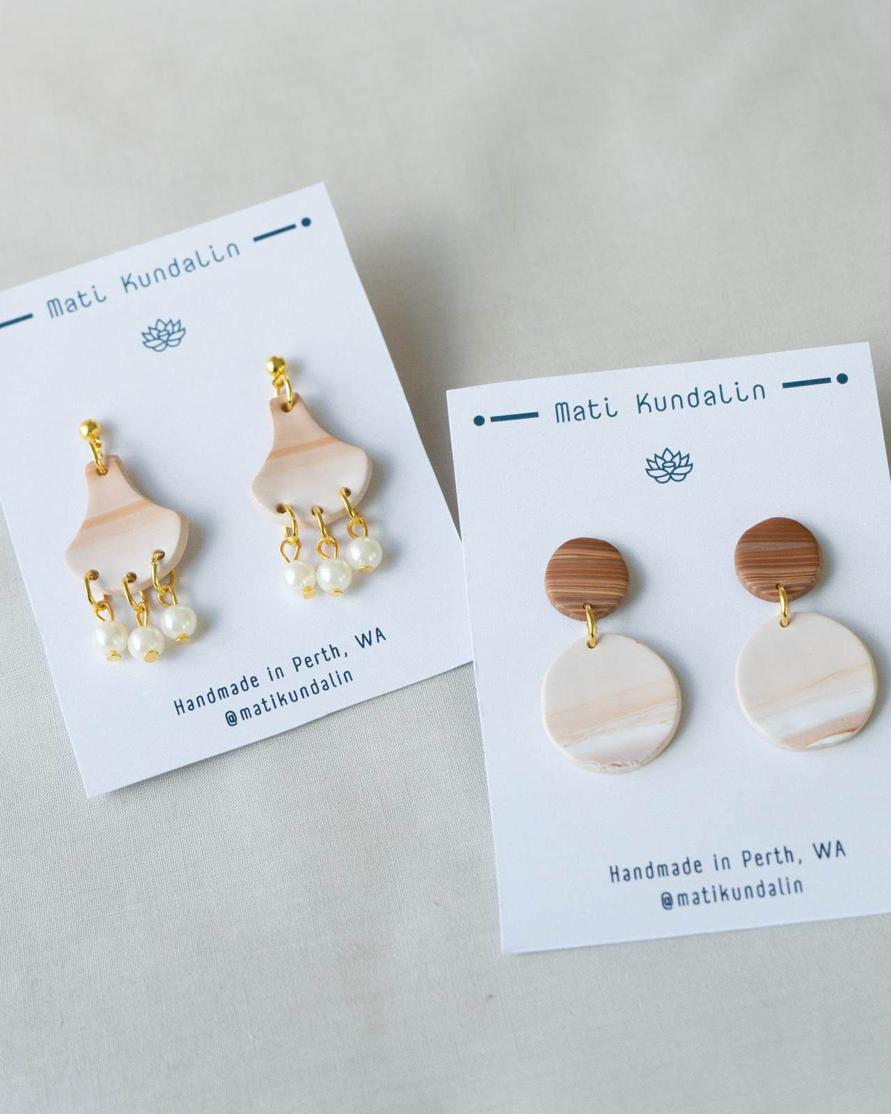 Umber - White and Brown colour Polymer Clay Earring with Pearls for Elegant Look
