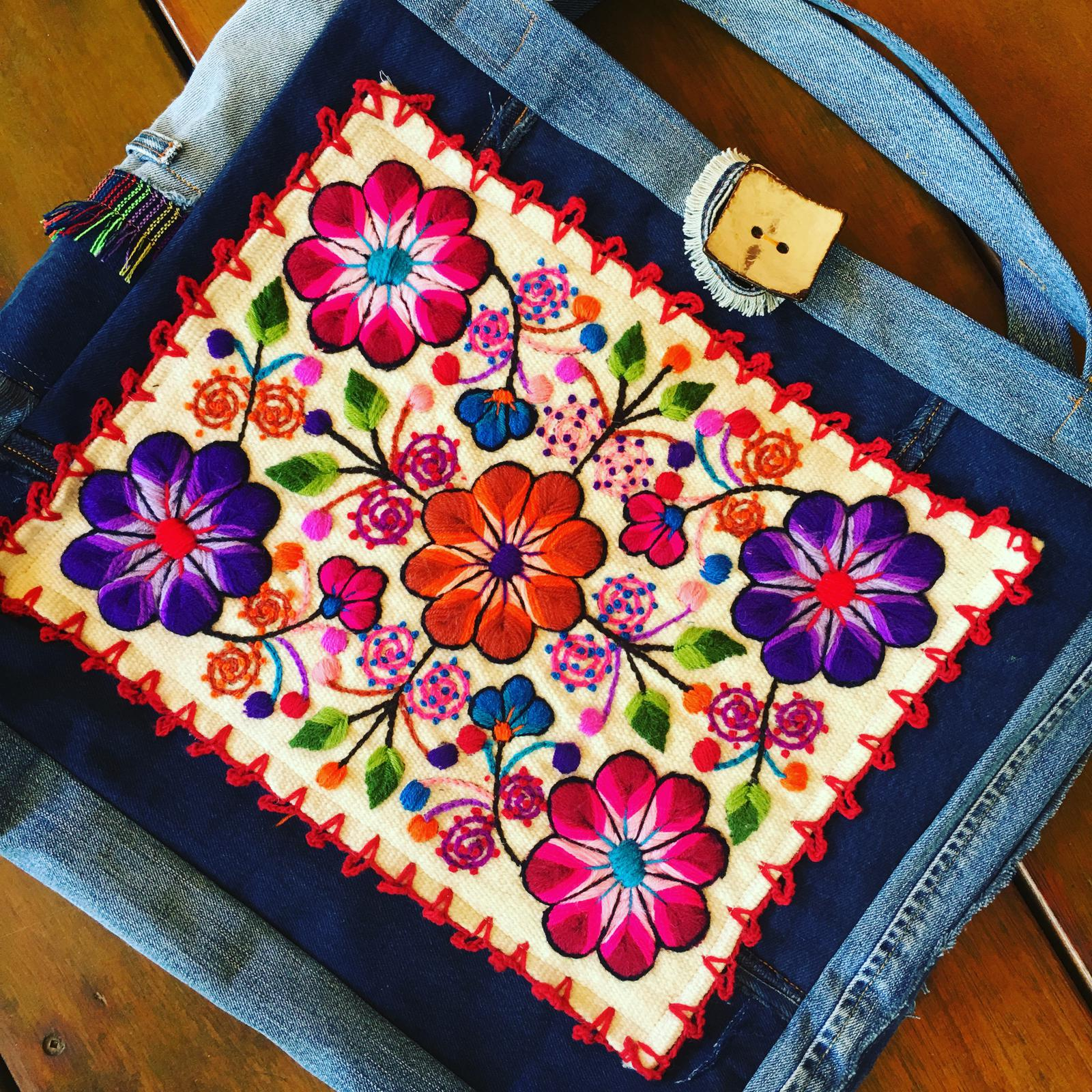 recycled demin & embroidered bags