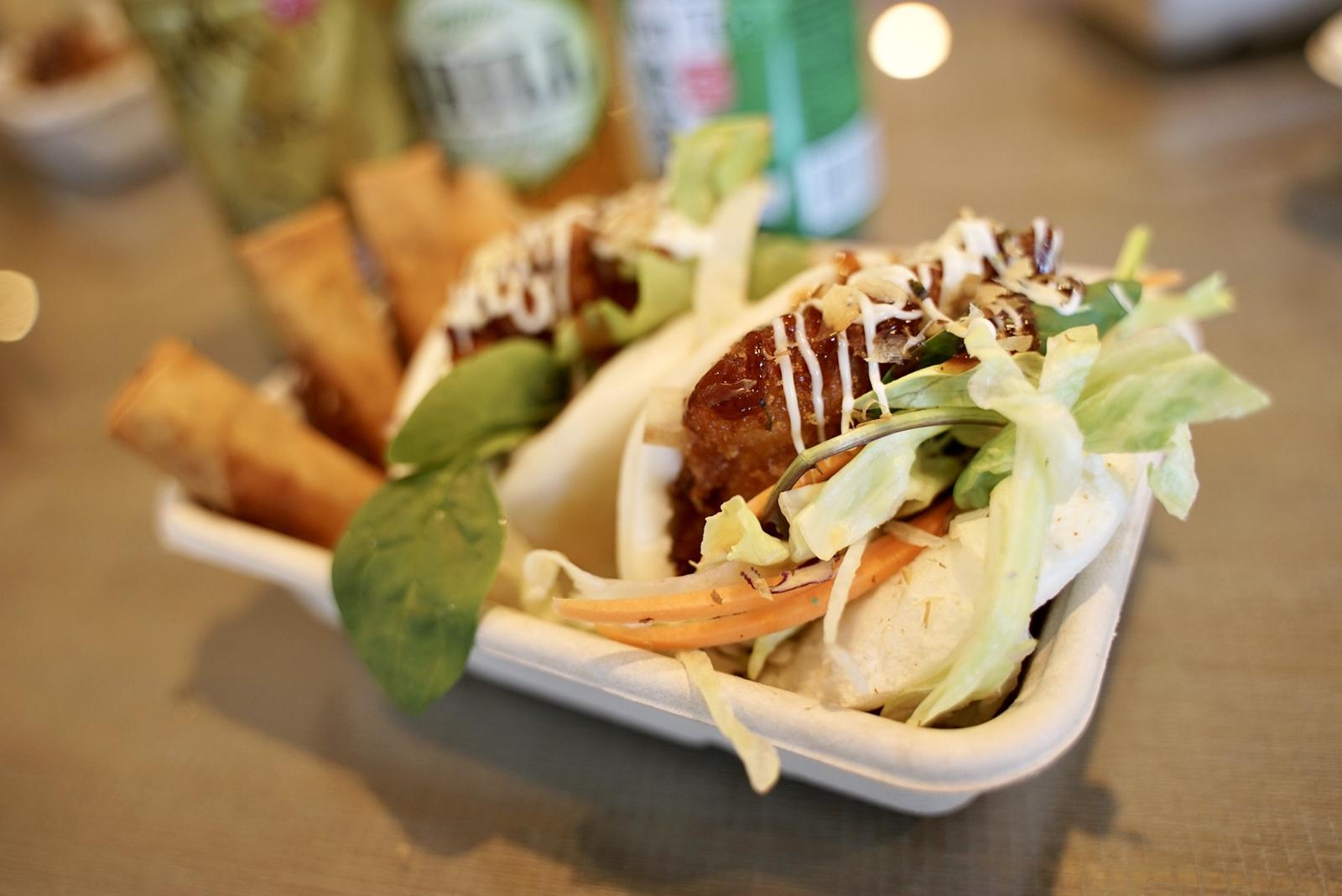 Katsu Bao Sliders Of the Day with Veggie Spring Rolls