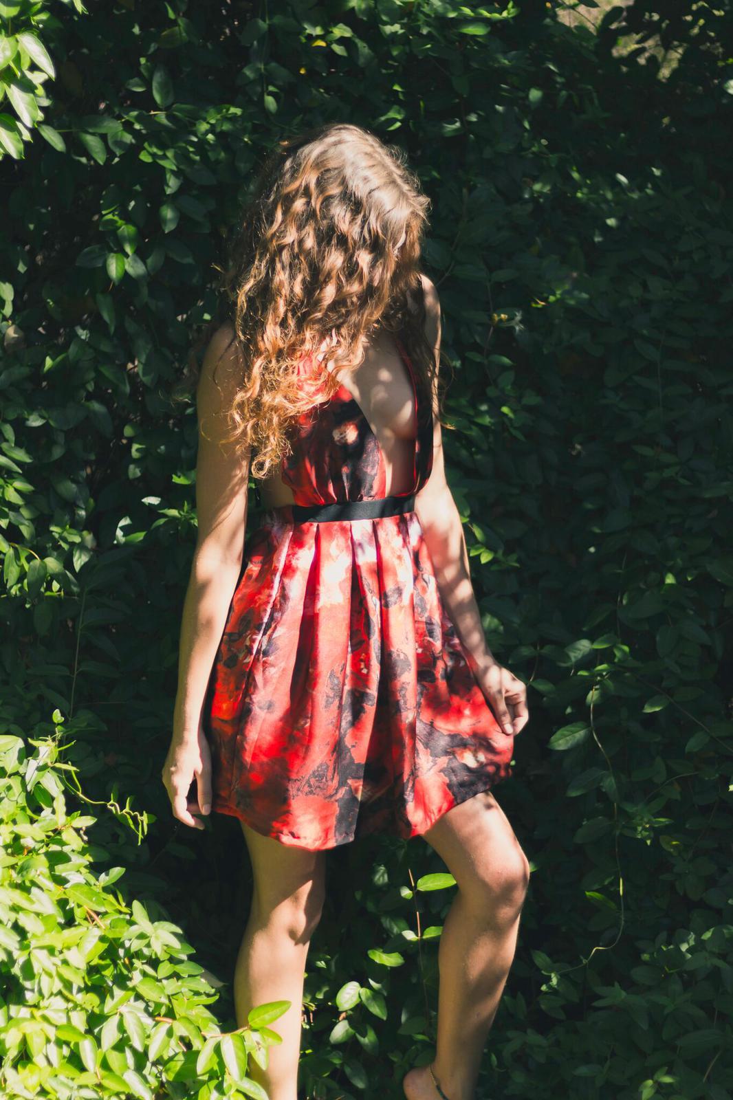 silk rose print dress