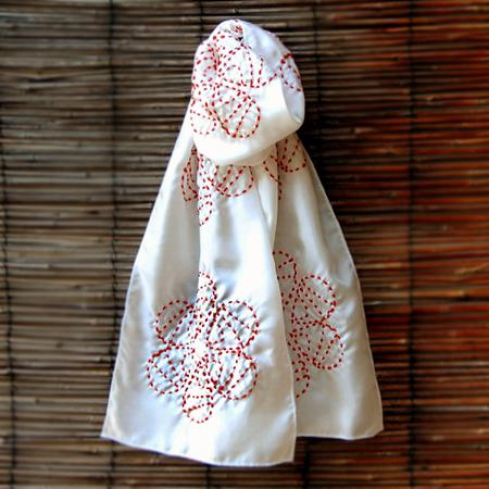 'Retroflora' tangerine|ivory scarf