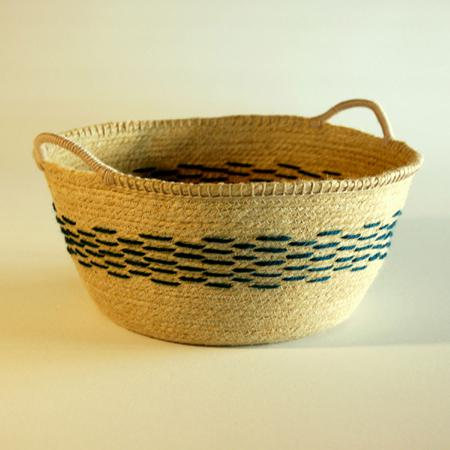 'Nomad' flax basket - atlantic