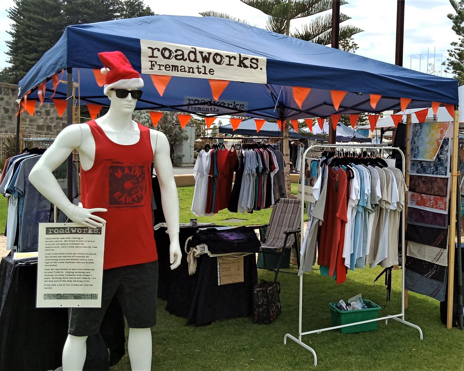 roadworks. Fremantle market stall featuring Eric
