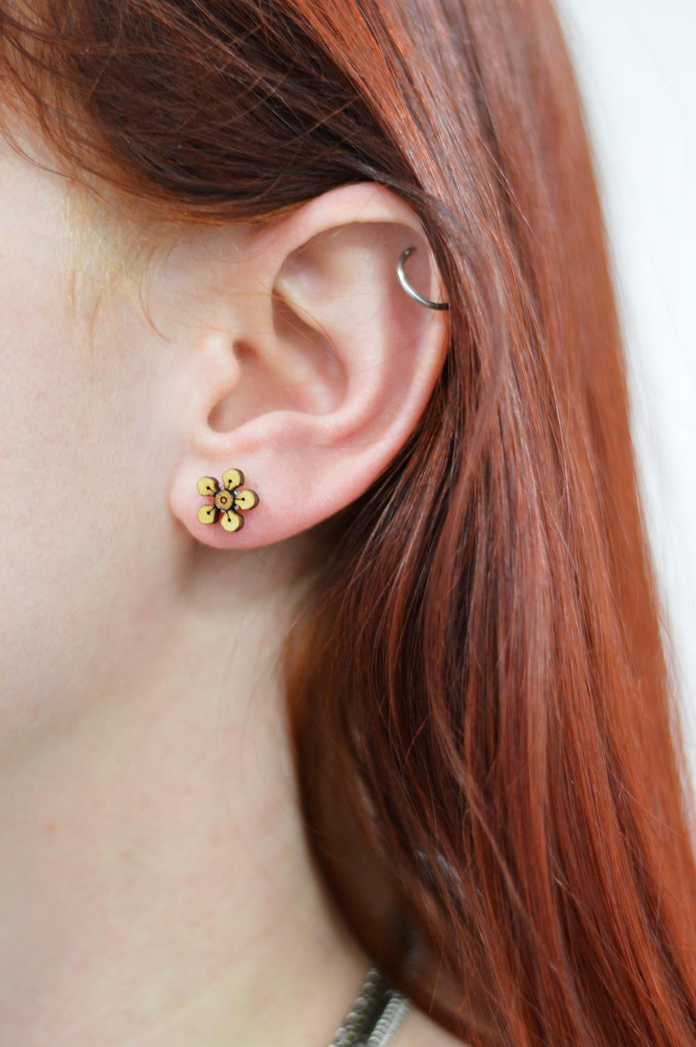 Wooden stud - Geraldton Wax 'Gerry' Earring