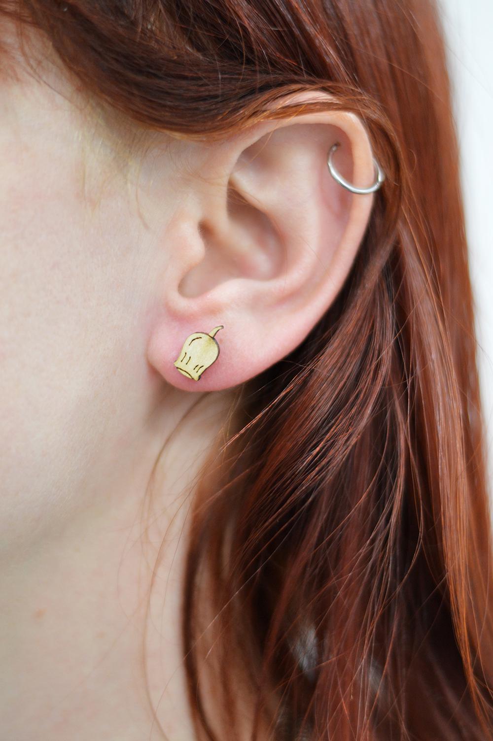 Wooden stud - Gumnut 'Ally' Earring