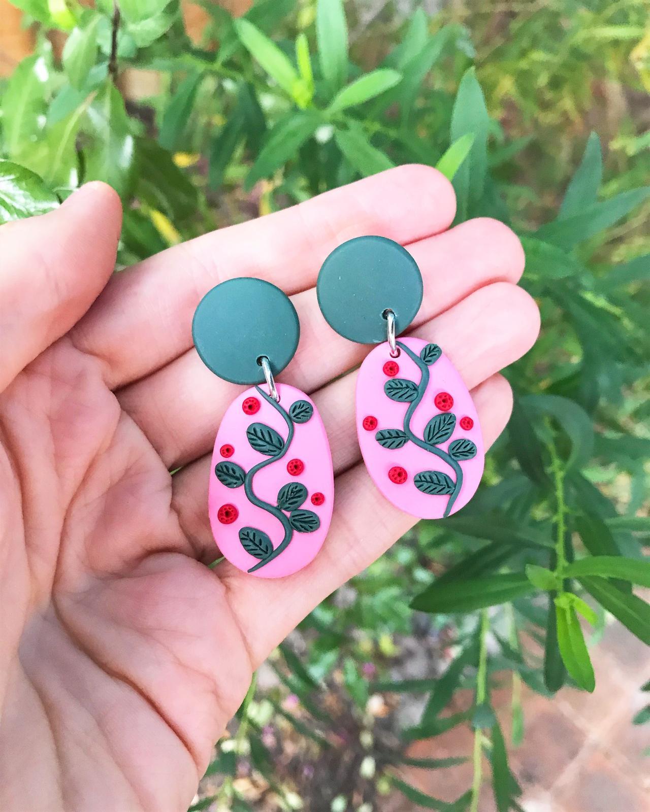 Polymer Clay Drop Earrings - Vines