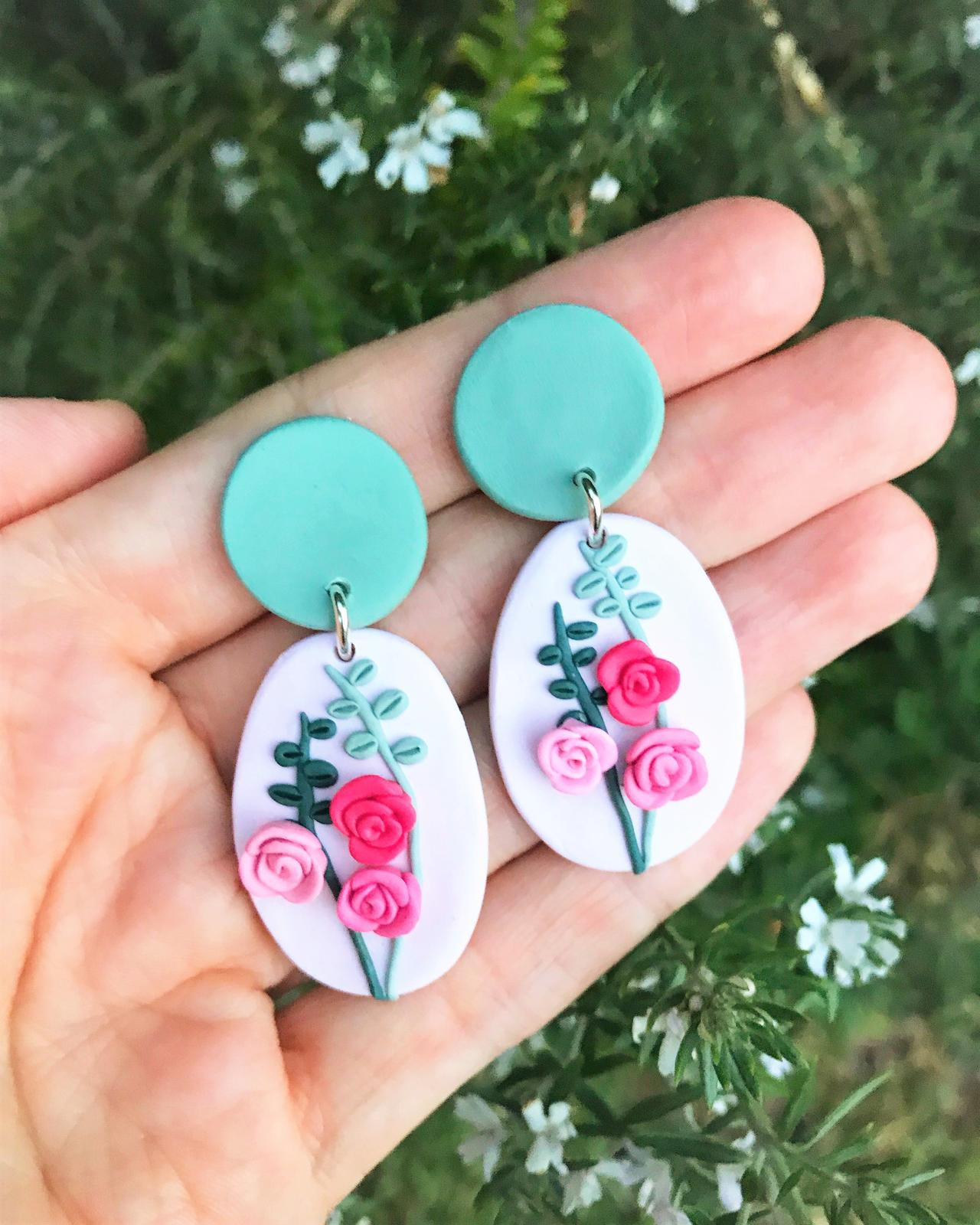 Polymer Clay Earrings - Roses